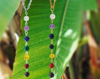 7 chakra necklace, Chakra Jewelry, 7 gemstone chakra neklace, Yoga Necklace, Yoga Jewelry, Delicate Necklace, Dainty Necklace, Yoga Gifts
