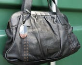 Hobo Satchel Tote Bag  Soft black pebble leather Purse  Vintage Rocha John Rocha leather shoulder bag