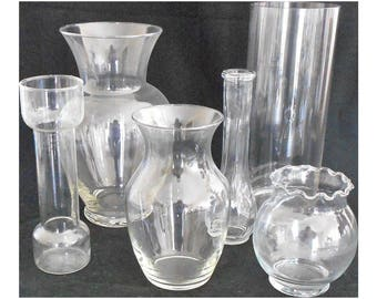 Set of Six Glass Vases - Six Clear Glass Vases