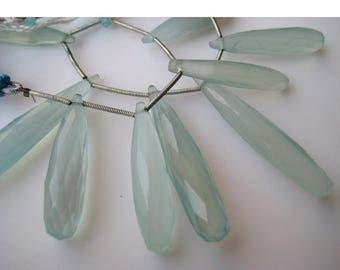 ON SALE 50% Aqua Chalcedony, Blue Chalcedony, Briolette Beads, Tear Drop Beads, Faceted Gemstones, 31mm To 21m Each
