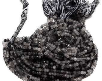 ON SALE 50% Black Rutilated Quartz Faceted Rondelle Beads, AAA Rutile Quartz 4mm Beads, 13.5 Inch Strand, Sku-45