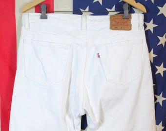 1990's White Levi's 501 Jeans // Red Tab // Vintage Levis Jeans // Miami Vice Style // Made In USA // Button Fly Jeans // Size 36/32