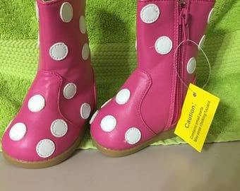 Squeaker Boots/Squeaker Shoes/Pink Polka Dots/Boots/Squeaky Shoes/Squeaky Boots/Shoes/Infant 3/Size 3 Shoes