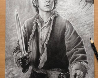 Hobbit Original Pencil Drawing - Bilbo Baggins - Tolkien Hobbit Artwork - Bilbo Baggins in Mirkwood Pencil Drawing