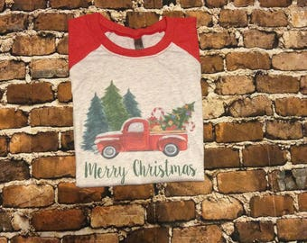 Vintage truck shirt, christmas shirt, Christmas tree truck shirt, truck shirt,  Christmas raglan, Christmas tree, truck shirt, old truck