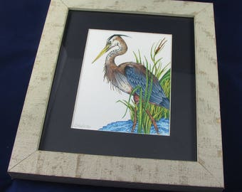 Framed Great Blue Heron, Signed Print