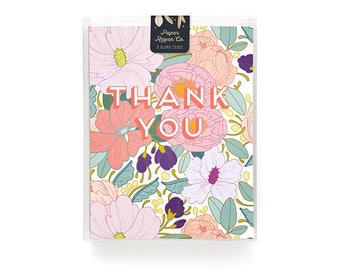 Thank You Card Box Set of 8 - Full Floral Thank You Card Blank Inside