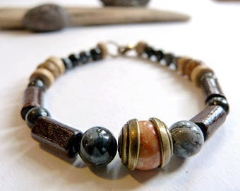 Ethnic Obsidian unisex bracelet, wood and Jasper.