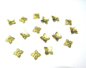 30 bead caps flower 6mm gold color metal