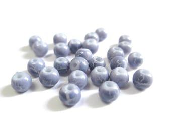 50 beads purple cracked glass 4mm