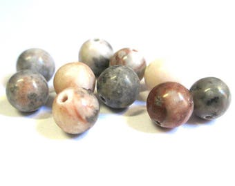 natural grey beige Brown jade 8mm 10 beads
