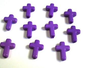 10 16 x 12 x 4 mm purple acrylic cross beads