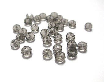faceted grey glass 4mm 20 beads