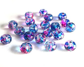 20 transparent faceted rondelle beads speckled fuchsia and blue glass 6x8mm