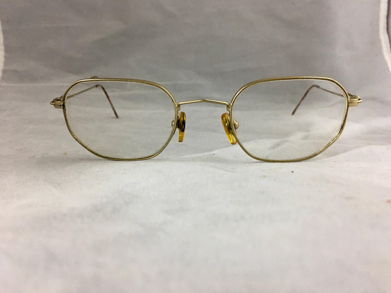 Vintage 1970s Oval Eyeglass Frames Wire Frame Granny Glasses Gold ...