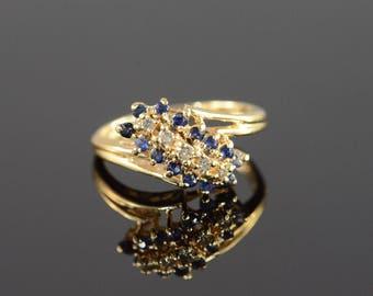 14k 0.35 Ctw Diamond Sapphire Waterfall Ring Gold