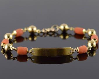 """1/20th 14Kk 4.7mm Coral Ball Link Bracelet Gold 5.9"""""""