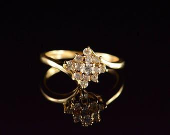 14k 0.25 Ctw Cluster Diamond Ring Gold