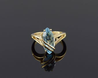 18k 3.00 CT Marquise Wrapped Blue Topaz Ring Gold