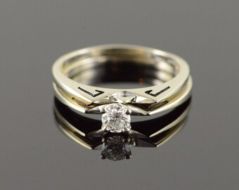14k Retro 0.20 CT Diamond Black Enamel Engagement Wedding Band Set Ring Gold