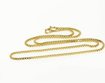 """14k 1.5mm Box Link Fancy Chain Necklace Gold 15.75"""""""