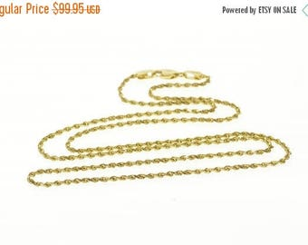 Big SALE 14k 1.1mm Pressed Curb Link Chain Necklace Gold 15.25""