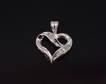 10k Baguette Diamond Inset Channel Heart Pendant Gold