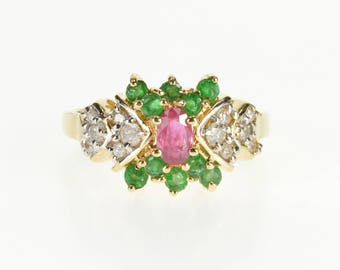 14k 1.00 Ctw Oval Ruby Diamond Emerald Encrusted Ring Gold