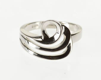 14K Ornate Tiered Wave Swirl Design Band Ring Size 5.75 White Gold