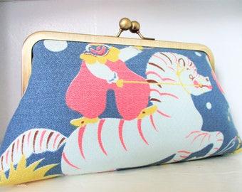 "Clown Zebra Pink Elephant Circus Vintage Barkcloth Fabric 8"" Antique Brass Kisslock Frame Clutch Wristlet Crossbody Shoulder Bag Purse"