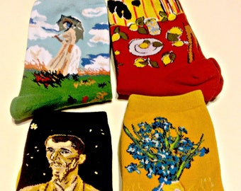 Art Socks Set,2 Van Gogh's, Matisse,Monet, Gift for Women,Crew Socks,Artist Set of 4,Gift for Women, Art Teacher