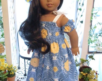 """Blue Hawaiian Doll Dress to fit your 18"""" American Girl Doll"""