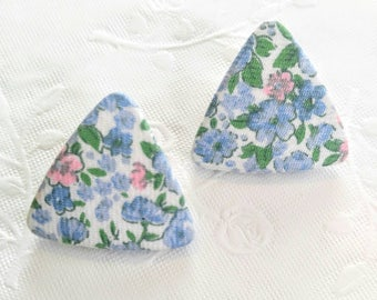UNUSUAL Floral Cloth/Fabric Covered Vintage Pierced Earrings-Blue, Pink, Triangle, Shabby Chic-All Orders Only 99c Shipping!!