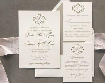 Romantic Filigree wedding invitation suite