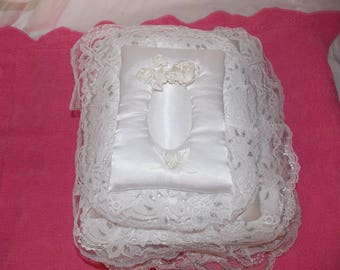 Handmade lace padded white satin wedding baby photo album