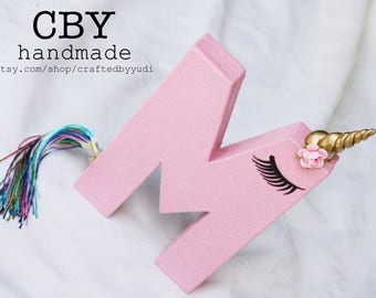 Unicorn Letter or Number Monogram - PINK GLITTER // Unicorn party decorations // Unicorn Party supplies
