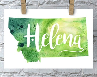 Custom Montana Map Art, Montana Watercolor Heart Map Home Decor, Helena or Your City Hand Lettering, Personalized Giclee Print, 5 Colors