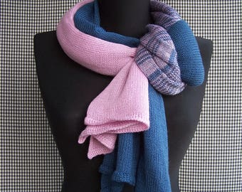 knit big long blue and pink gradient fine soft wool blend scarf for men or women