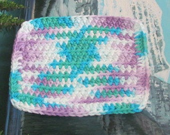 Hand crochet dish cloth 6.5 by 6.5 cdc 102