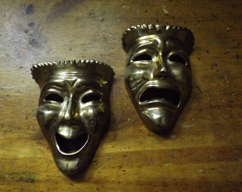 Vintage Brass Comedy Tragedy Theatre Drama Art Masks Happy Face Sad Face Wall Art