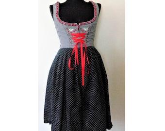 Dirndl Dress, Black White Dirndl Dress, Polka Dot Checkered Dirndl, Trachten, German Octoberfest Bavarian Folk Traditional Dress, Size S