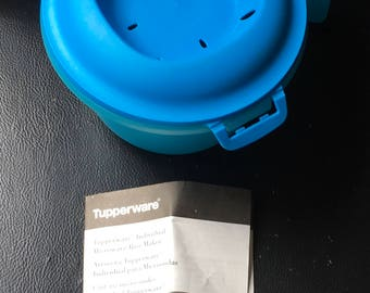 Tupperware Individual Microwave Rice Maker Steamer  Lunch Health Eating Work School College Home Blue