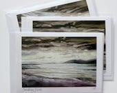 Smokey Jura | greetings card | hand made | handmade | oil painting | painting | landscape | jura | sunset | brown | sea | painting card
