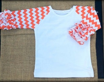Orange Chevron Ruffle Raglan