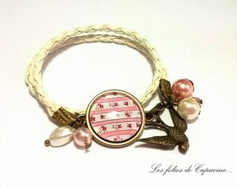 Cabochon •SHABBY• leatherette braided cord bracelet