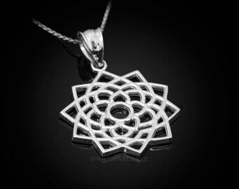 Sterling Silver Sahasrara (Unity) Chakra White Lotus Yoga Pendant Necklace