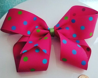 Big Bow Pink Polka Dot Hair Bow