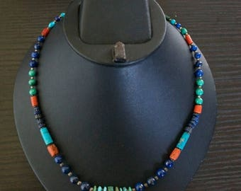 ON SALE Stylish TURQUOISE Coral Lapis Lazuli Silver Necklace