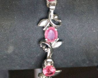 ON SALE Genuine RUBY Silver Bracelet