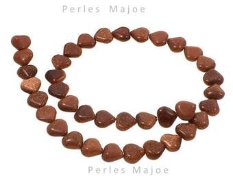 30 Perles Goldstone en forme de coeur dimensions 12 x 5 mm